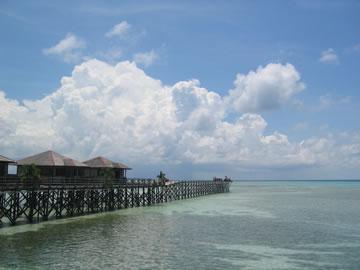Kapalai with reef visible at low tide